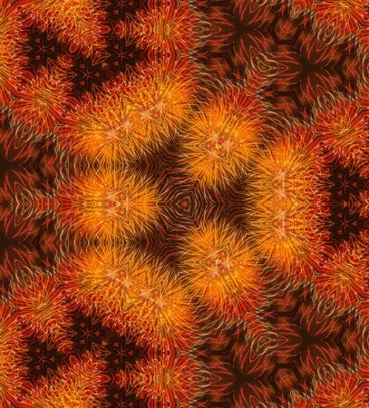 The Abstract reflection of Colorful fireworks explosion in the dark sky, Kaleidoscope,Illustration