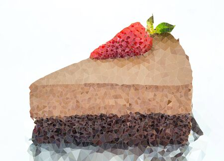 The Abstract Triangles of piece of chocolate cake for background use, Illustration