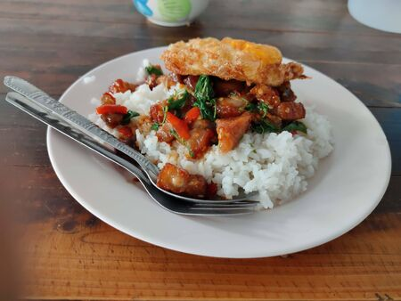 The crispy pork belly with Thai basil and fried egg on rice Banco de Imagens