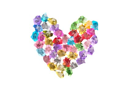 Abstract Triangles line heart made of precious stones on white background