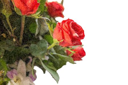 The Abstract Triangles line Bouquet Of Roses isolated on white background side view.