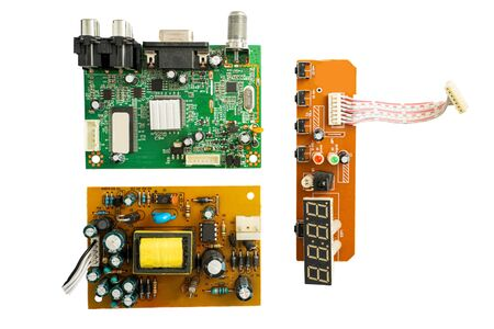 The Electronic circuit and component board on white background, PCBA Фото со стока