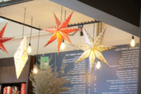 The Christmas star through frosted glass image for background use