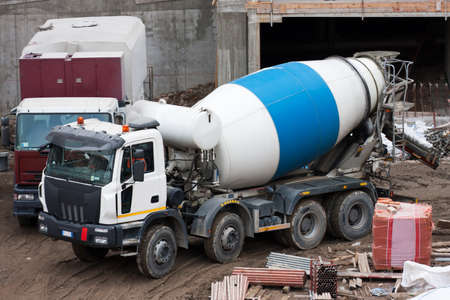 solidify: Cement mixer truck  Stock Photo