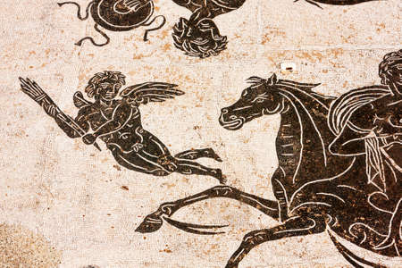 Particular of Roman mosaic in the thermal baths of Neptune in ancient Ostia - Italy Banco de Imagens