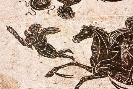 Szczególną rzymskiej mozaiki w łaźniach termalnych Neptuna w starożytnej Ostii - Włochy Zdjęcie Seryjne