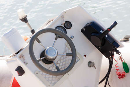 pilot light: Small dashboard of the boat Stock Photo