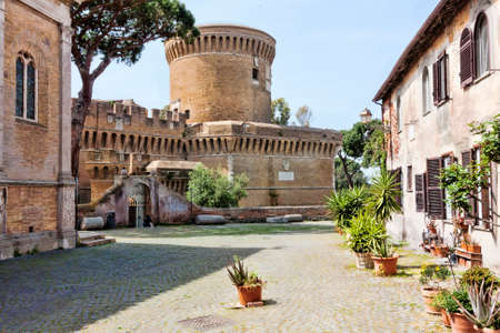 glimpse: Glimpse of Medieval village of Ostia Antica - Italy Editorial