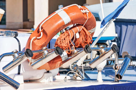 Lifeline in rod holders equipped fishing boat