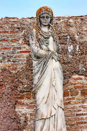 Funerary statue representing female character of ancient Ostia - Rome Italy Stock Photo
