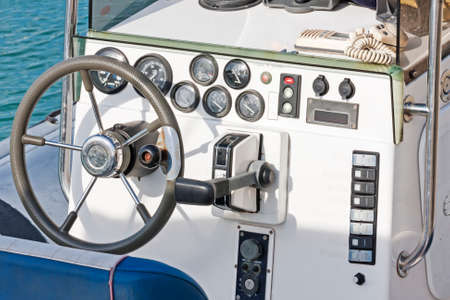 well equipped: Well equipped dashboard in the pleasure boat
