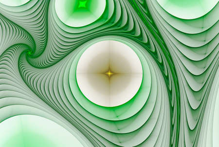 asymmetrical: Abstract background with asymmetrical drawing with green and white spirals and tubular circles