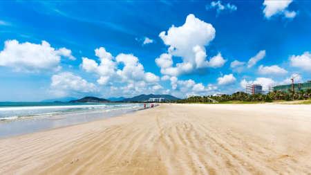 Panorama of tropical beach of Hainan island - China