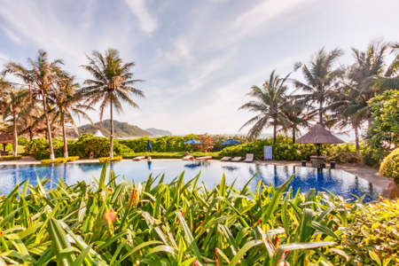 Tropical garden panorama with pool and sunshades