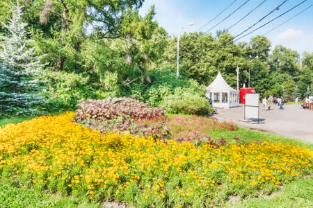 Moscow, Russian Federation - August 2, 2017:  Sokolniki Park with beautiful garden and vegetations