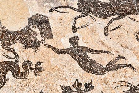Detail van het triomfmozaïek van Neptunus in het frigidarium van de baden van Neptunus in Ostia Antica - Rome, Italië Redactioneel