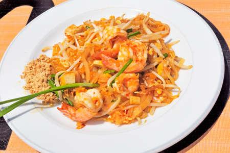 Thai Cuisine: Shrimp Salad with Sauce and peanut flour - selective focus