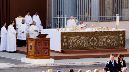 Ostia Lido - Rome, Italy June 3, 2018: Pope Francis Bergoglio celebrates the Corpus Mass Domini in Sant Monica Square.