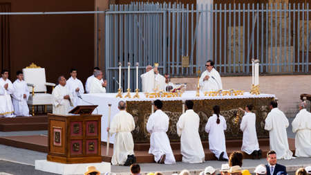 Ostia Lido - Rome, Italy June 3, 2018: Pope Francis Bergoglio celebrates the Corpus Mass Domini in Sant Monica Square.