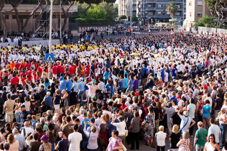 Ostia Lido - Rome, Italy June 3, 2018: Waiting for Pope Francesco Bergoglio celebrates the Corpus Domini Mass in St. Monica Square with crowds of faithful and tourists ready to celebrate the event. Editorial
