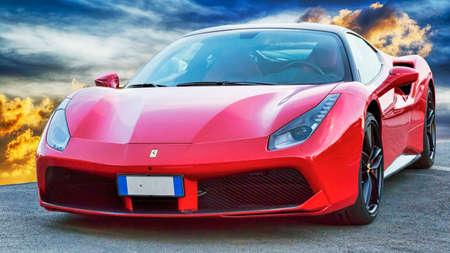 Rome, Italy - June 24, 2018: Luxury model sports car Ferrari 488 GTB placed on a scenic background. The Ferrari 488 is an Italian sports car produced since 2015, powered by a 3.9 litre twin turbocharged V8. Redakční