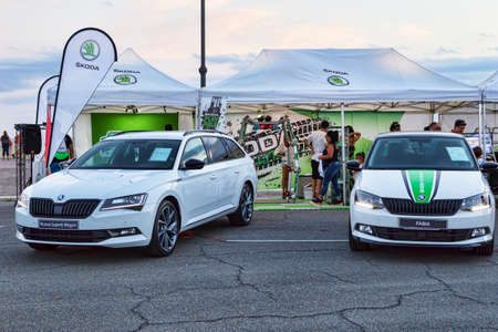 Rome,Italy - July 21, 2018:On occasion of Rome's Rally event, the motor showrooms exhibit new cars models in Rome in outdoors Skoda stand .