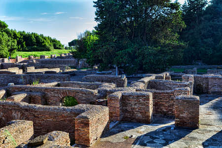 Panoramic view of part of the Cisiarii spa complex in Ancient Ostia - Rome