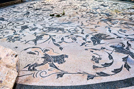 The polychrome mosaic of the circular hall of the seven wise spas in Ancient Ostia - Rome Редакционное