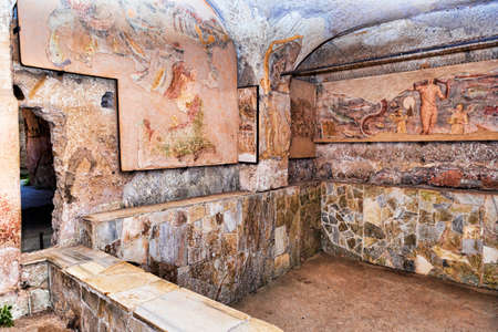 The basin of the frigidarium inside the Seven Wise Mens spas in the archaeological excavations of Ancient Ostia - Rome