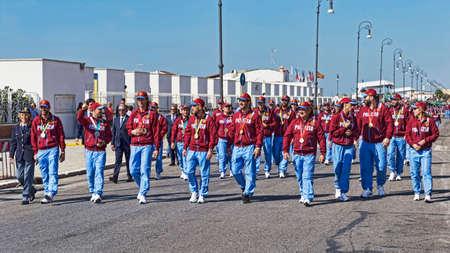 Rome, Italie - 30 septembre 2018 : Groupes sportifs de la police d'État italienne Fiamme Oro alias Gold Falmes, défilés sur la promenade romaine à l'occasion du 50e anniversaire de la fondation de l'Association nationale de la police d'État.
