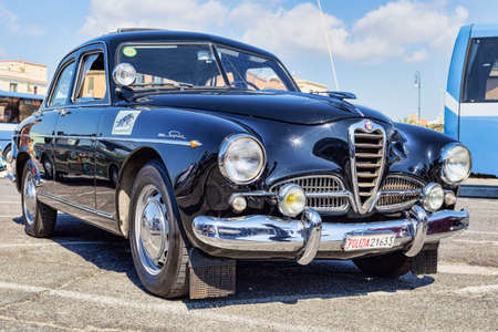 Rome,Italy - September 30, 2018: On the occasion of 50th anniversary of the foundation of the National Association of State Police, an outdoor exhibition of Alfa Romeo company vintage cars with famous model Alfa Romeo 1900 Super supplied to the Italian Po