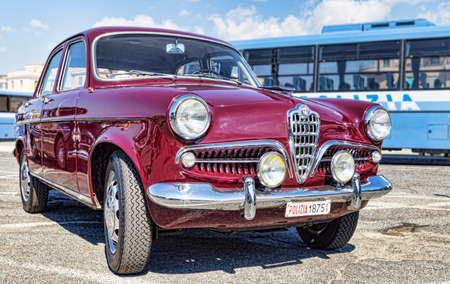 Rome,Italy - September 30, 2018: On the occasion of 50th anniversary of the foundation of the National Association of State Police, an outdoor exhibition of Alfa Romeo company vintage cars with famous model Giulietta 1300 TI Editorial