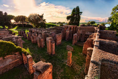 Landscape in the Roman archaeological ruins in Ostia Antica - Rome Archivio Fotografico