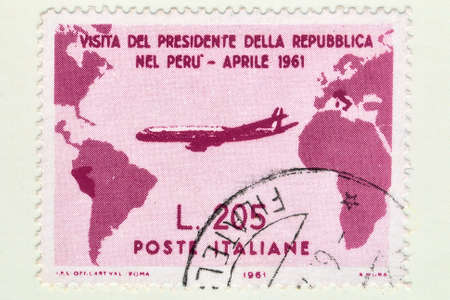 Italy - CIRCA 1961: A stamp printed in Italy, Rare used Italian stamp of Gronchi rose worth 205 Lire, commemorates the visit of the Italian President Gronchi to Peru.It has become a rare stamp for the design in Peru's borders. Editoriali