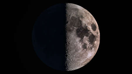 The beauty of the universe: Wonderful super detailed first quarter Moon