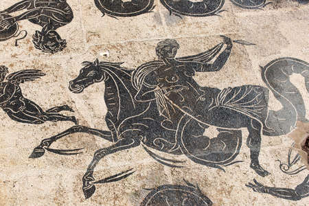Detail of Nettuno triumph mosaic in the thermal baths of Neptune in Roman archeological excavations of Ostia Antica- Italy