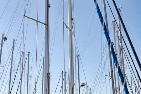 Sailing masts in the marina in a sunny day with blue summer sky