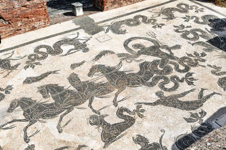Archaeological excavations of Ostia Antica and the famous mosaic of Triumph of Neptunewith mythological scenes located in the ancient Roman baths of Nettuno - Rome
