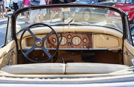 Rome,Italy - July 20, 2019:On occasion of  Rome capital city Rally event, an exhibition of vintage cars has been set up with the beutiful black car model Jaguard XK150  manufactured by British Jaguard automaker from 1957 to 1961 Redactioneel