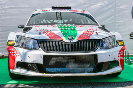 Rome,Italy - July 20, 2019:At Rome capital city Rally public event, with  the beautiful front view of fast sport rally car model Skoda R5 Editorial