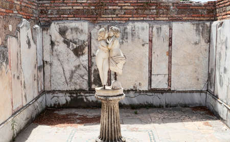 Archaeological excavations of Ostia Antica with the domus of Amore and Psiche and the romantic passion of love depicting in the marble with the famous kiss statue-  Rome Italy