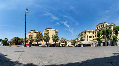Ostia Lido Rome, Italy - July 19, 2019: Immersive panoramic street view of Anco Marzio square,with a beautiful liberty style palaces and commercial business,its located in the pedestrian area and its the center of the night life in Ostia