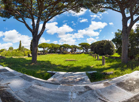 Amazing immersive panoamic view from the Cibele Sanctuary with a view of the Campo della Magna Mater in the archaeological excavations of Ostia Antica - Rome Italy