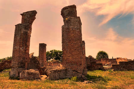 Sunset at archaeological excavations of Ancient Ostia
