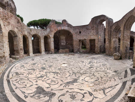 Immersive panoramic view of the circular hall of the seven wise thermal baths in archaeological excavation of Ostia Antica, with the beautiful polychrome mosaic heritage of Roman art. Rome,  Italy Archivio Fotografico - 132485266