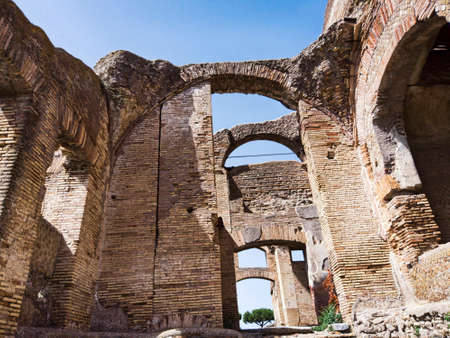 The beautiful ancient Roman architecture in the archaeological excavations of Ostia Antica, Rome Italy.