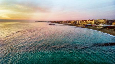 View of Ostia Lido beach over the blue sea Foto de archivo