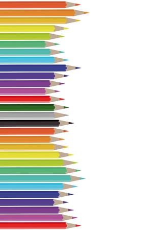 sábana blanca con lápices de colores
