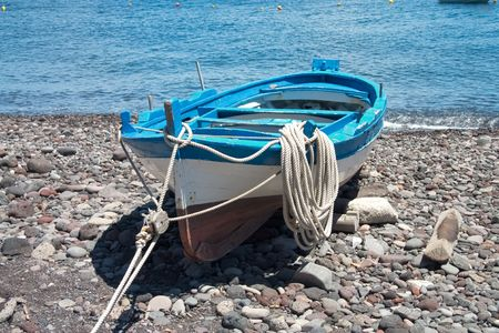 barca da pesca: alcuni colori di barche sulla porta della lingua, Salt, Sicila