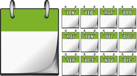 Calendarios verdes Ilustración de vector